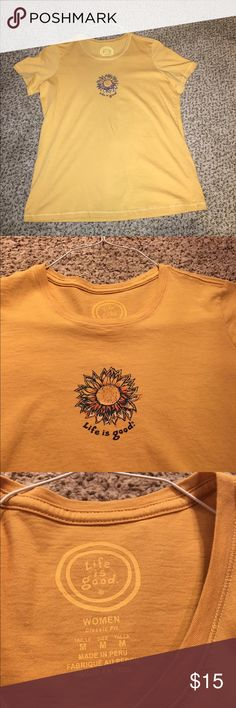 Life is Good shirt Women's medium. I wore this once. It's in prefect shape. Color is gold/mustard Life is Good Tops Tees - Short Sleeve