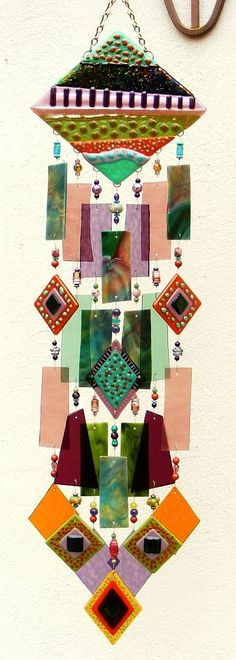 Kirks Glass Art Fused Stained Glass Wind Chime windchime - The Road Not Taken. $249.00, via Etsy.