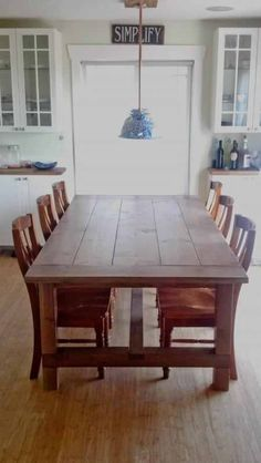 Modified Farmhouse Table -- bet Dad could easily make this! Maybe also make a bench to match, for switching out?