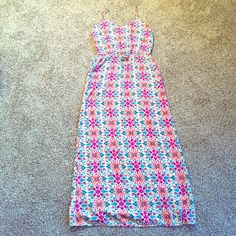 Spring Cleaning SaleGAP Maxi Dress Colorful, lightweight GAP maxi dress! Cream colored with pink, orange and teal floral pattern! Drawstring waist. Great used condition! GAP Dresses Maxi