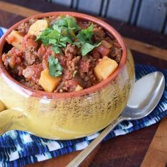 The weather doesn't need to be cold to enjoy amazing bison chili. That's right, here is a delicious twist on a traditional chili you will love. Crock Pot Recipes, Whole 30 Crockpot Recipes, Chili Recipes, Paleo Recipes, Free Recipes, Cooker Recipes, Bison Recipes, Delicious Recipes, Tasty