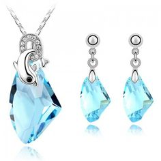 Crystal from Swarovski Austrian Crystal Dolphin Necklace Pendants Dangle Earrings For Women White Gold Plated Jewelry Sets 4097