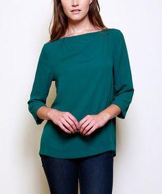 Look at this #zulilyfind! Dark Green Lace-Up Boatneck Top #zulilyfinds. Love this top!
