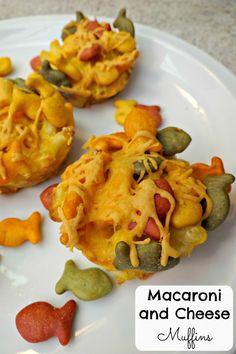 Macaroni and Cheese Muffins! Fun with Goldfish Crackers! #GoldfishMix #Ad