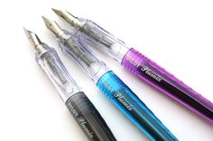 Pilot Plumix Fountain Pen These pens have been a popular hit among fountain pen users for their clear body (easy visibility of ink), interesting design and smooth writing nib.
