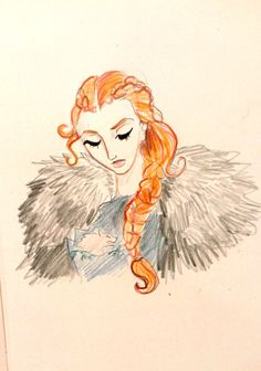 Sansa Stark. Been a huge Game of Thrones/Song of Ice and Fire fan for a long time, yet never have drawn fan art of it. Dunno why. :P Anyways, Sansa is far from my fave character, but I love her look.