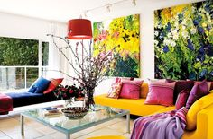 decorate with floral patterns. vibrant living room in Bobbie Burger's home.