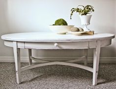sweet tree furniture: oval coffee table with drawer