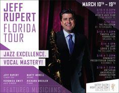 Jeff Rupert #Jazz Quartet (Jeff Rupert - tenor sax, Marty Morell - drums, Richard Drexler - piano, !Veronica Swift - vocals) March 2017 Florida Tour Announced by Night Is Alive Agency.