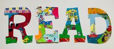 READ Laminated Wall Letters -- Set of 4 Read Letters, Big Letters, Letter Set, Letter Wall, Art Classroom, Classroom Themes, Laminate Wall, Bulletin Board Letters, Painting Wooden Letters