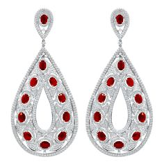 Large Ruby and Diamond Earrings | From a unique collection of vintage drop earrings at https://www.1stdibs.com/jewelry/earrings/drop-earrings/