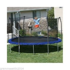 Trampoline Combo Set Large 15' Round With Safety Net Enclosure & Blue Spring Pad