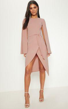 a94c7f1b60b Dusty Pink Cape Style Wrap Midi Dress