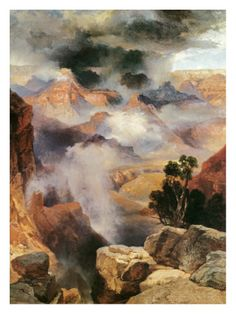 Thomas Moran - Mist in the Canyon Art Print. Explore our collection of Thomas Moran fine art prints, giclees, posters and hand crafted canvas products Thomas Moran, Art Thomas, Beach Landscape, Landscape Art, Cool Landscapes, Beautiful Landscapes, Hudson River School, Imagines, Mists