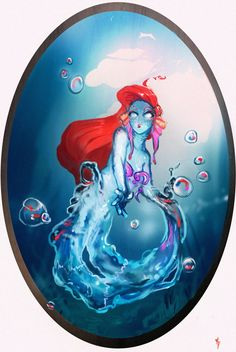 Arial moved in her wet world now moving in the red hair and watery body eligantly.