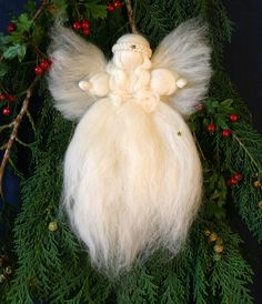 Waldorf, Merino Wool, Christmas Tree Top Angel, needle felted, fairy wool, Christmas ornament, Christmas decoration