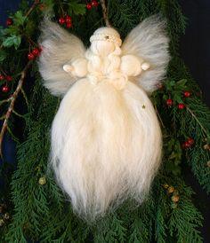 Waldorf Merino Wool Christmas Tree Top Angel  door BarbarasAngelsUK, £12,00