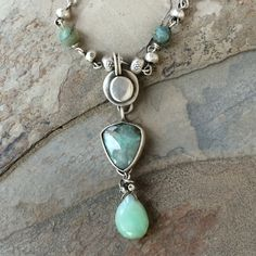 Lucin Variscite Crysophrase and Thai Silver by coldfeetjewelry