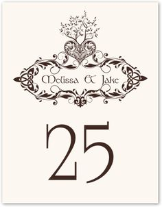 Bailey's Tree of Life :: Weddings :: Table Numbers