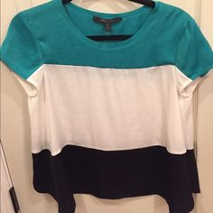 New BCBG Max Azria green, white, and black blouse New BCBG Max Azria teal green, white, and black blouse. It is new without tags and in excellent condition BCBGMaxAzria Tops Blouses