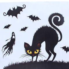 Hot-Halloween-Witch-Bat-Decoration-Window-Wall-Paper-Art-Sticker-Decals