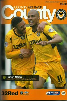 Newport Co 1 Burton Alb 1 in April 2014 at Rodney Parade. The programme cover #Lge2