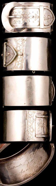 Wide Victorian Sterling Buckle Hinged Bangle Bracelet