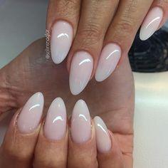 """""""Frosted Pink på naturella tippar i mandelform #lillynails"""""""