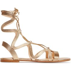 Gianvito Rossi Metallic leather sandals ($550) ❤ liked on Polyvore featuring shoes, sandals, flats, gold, metallic gladiator sandals, gladiator flats sandals, lace up gladiator sandals, leather shoes and metallic leather sandals
