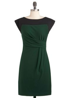 Best Day Evergreen Dress - Mid-length, Green, Black, Solid, Pleats, Work, Sheath / Shift, Cap Sleeves, Fall, Vintage Inspired, 50s