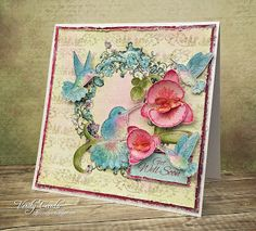Get Well soon! (Verity Cards) Gorgeous flower and hummingbird watercolour card