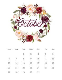 This Free Printable 2019 Floral Wreath Calendar will brighten up your space and also keep you organized for the upcoming year! October Calendar, Kids Calendar, 2019 Calendar, December, Printable Calendar Template, Printable Planner, Free Printables, Planner Stickers, Monthly Planner