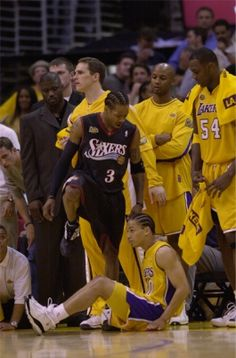 Allen Iverson steps over Tyronn Lue after making a basket in Game 1 of the 2001 NBA Finals. Iverson, a longtime Philadelphia fan favorite, is expected to attend tonight's Game 6 between the and. Sport Basketball, Basketball Legends, Love And Basketball, Basketball Players, Basketball Stuff, Basketball Jones, Basketball Pictures, Chicago Bulls, Michael Jordan