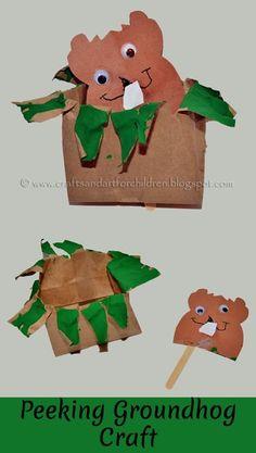 Peeking Groundhog Paper Bag Craft via Crafts-N-Things for children