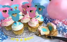 Is it a boy or a girl? Take a bite of these yummy cupcakes. Gender Reveal Cupcakes, Easy Thanksgiving Crafts, Gift Card Balance, Serving Others, Yummy Cupcakes, Diy Canvas Art, Tree Crafts, Holiday Treats, Projects To Try