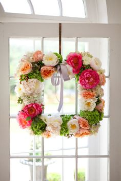 Square peony and garden rose wreath: http://www.stylemepretty.com/living/2015/08/05/diy-summer-floral-wreath/