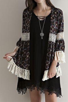 Mandala Print Fringe Kimono Cardigan Beautifully detailed100% RayonColor: Black$42