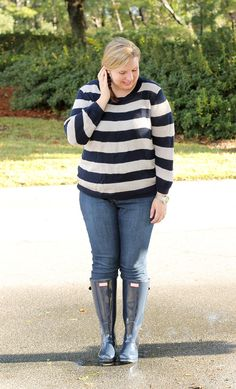 Navy gloss Hunter boots, jeans, navy and cream stripe sweater