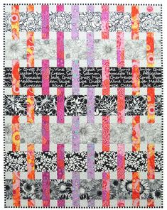 Interweave Quilt Pattern, Especially designed for Kaffe Fassett and Amy Butler prints Baby, Throw, Twin and Queen sizes - Interweave is specifically designed to feature large scale prints. Kaffe Fassett and Amy Butler fab - Jellyroll Quilts, Patchwork Quilting, Scrappy Quilts, Easy Quilts, Quilts For Kids, Hand Quilting, Quilt Festival, Quilt Baby, Strip Quilts