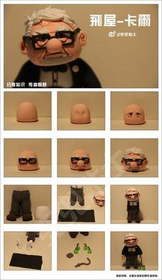 "[Tutorial] tuerce arcilla ""Flying Pixar 's abuelo Carl Polymer Clay People, Polymer Clay Dolls, Polymer Clay Miniatures, Polymer Clay Charms, Polymer Clay Creations, Cake Topper Tutorial, Fondant Tutorial, Diy Clay, Clay Crafts"
