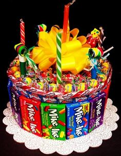 Candy Cake for a movie themed birthday party. Candy Cakes, Cupcake Cakes, Cupcakes, Anniversaire Candy Land, Birthday Traditions, Candy Bouquet, Colorful Candy, Candy Gifts, Candy Gift Baskets
