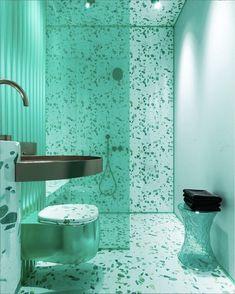 Monochromatic Interior Design: 8 Rooms That Nail It Green Interior Design, Bathroom Interior Design, Contemporary Green Bathrooms, Monochromatic Room, Monochrome, Checkerboard Floor, Black Towels, Amazing Bathrooms, Bathroom Inspiration