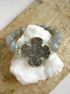 Labradorite Druzy Bracelet Drusy Quartz Cross by julianneblumlo