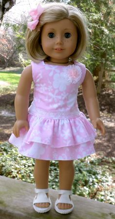American Girl Doll Clothes Pink Summer Dress with Sandals by buttonandbowboutique on Etsy