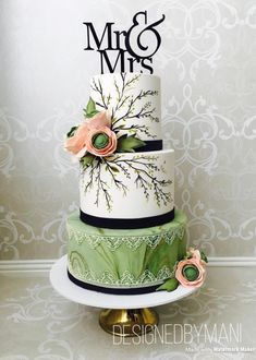 Mr & Mrs wedding cake by designed by mani - http://cakesdecor.com/cakes/304172-mr-mrs-wedding-cake #weddingcakes