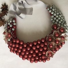 Colier Declaratie Made With Love By Yannia Ornament Wreath, Ornaments, Wreaths, Jewelry, Decor, Jewlery, Decoration, Door Wreaths, Jewerly