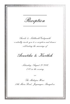 Very Elegant Silver Border Reception Invitation