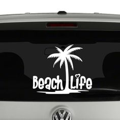 Beach Life Palm Tree Heart Vinyl Decal Sticker . Cut from quality Oracal 651…