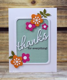 "My Creative Time February Release Sneak Peek (Hello Frame Dies also includes a ""thanks"" die) - Gorgeous Thank You card by Crafting Katie"