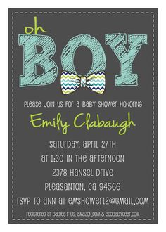 PRINTABLE PDF  Oh Boy Chevron Bowtie Baby by elisiacarrcreations, $15.00